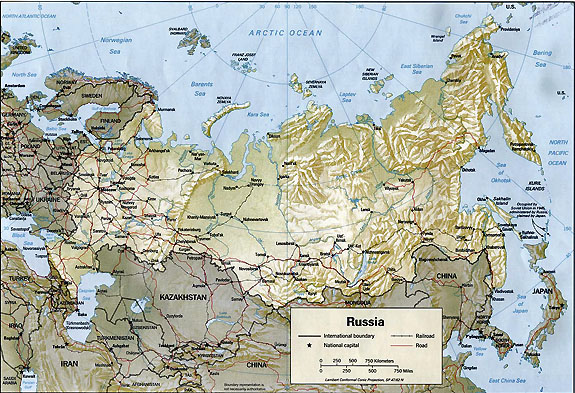Geography Of Russia - Physical map of russia